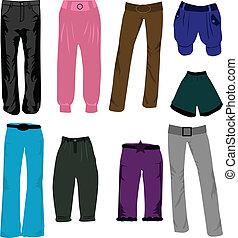pantaloni, vettore, icone
