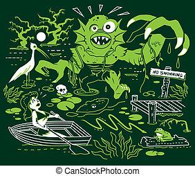 pantano, búsqueda, monstruo