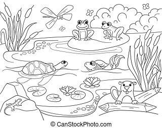 pantano, paisaje, con, animales, colorido, vector, para, adultos