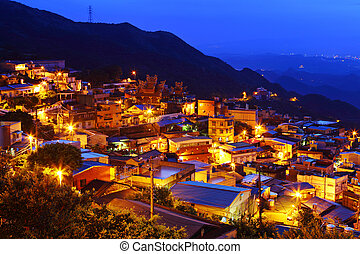 pantano, taiwán, aldea, noche, chiu