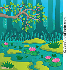 pantano, tema, 2, imagen