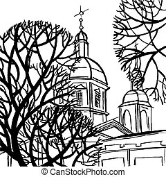 Panteleymon Cathedral in St. Petersburg with trees.