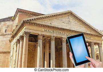 panteon, podróż, pojęcie, rzym