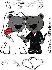 panter, set, spotprent, trouwfeest