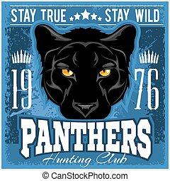 pantera, escudo, caça, clube, sinal., caça, caçador,...