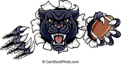 pantera, football americano, nero, mascotte