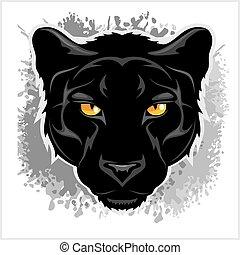 pantera negra, cabeza, -, en, grunge, fondo.