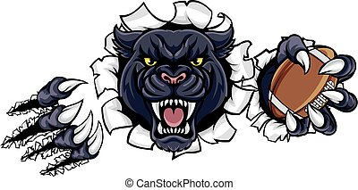 pantera, norteamericano, negro, fútbol, mascota