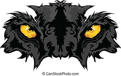 pantera, oczy, graficzny, maskotka