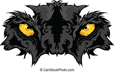 pantera, olhos, gráfico, mascote