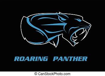 pantera, panther., cabeza