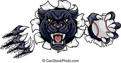 pantera, rotura, beisball, fondo negro, mascota