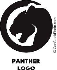 pantera, silueta, logo.