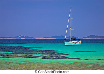 Pantera turquoise beach on Dugi Otok island archipelago sailing destination, Dalmatia region of Croatia