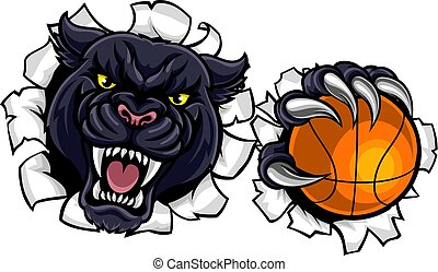 panthère, basket-ball, noir, mascotte
