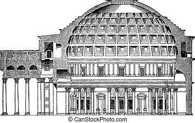 panthéon, engraving., dôme, tasse, vendange, rome