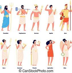 panthéon, poseidon, dieux, demeter, nike, mythes, grec, isolé, hermes, romain, ensemble, olympian, characters., vecteur, goddess., mythology., hera
