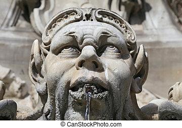 pantheon., 噴水, イタリア, rome.