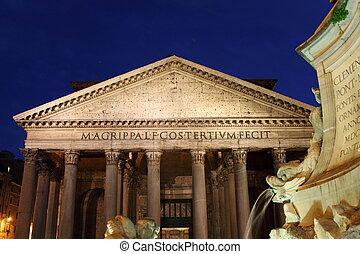 Pantheon at night in Rome