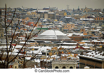 pantheon dome under the snow at rome in italy