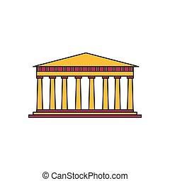 Pantheon icon, cartoon style