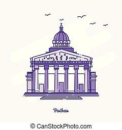PANTHEON Landmark Purple Dotted Line skyline vector illustration