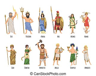 Pantheon of ancient Greek gods, mythology. Set of characters with names. Flat vector illustration. Isolated on white background.