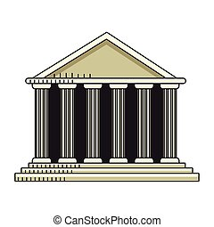 Pantheon of rome icon, flat design