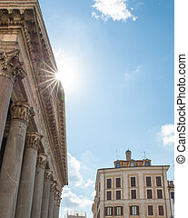 Pantheon Roof with Sun Flare and Copy Space