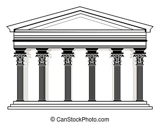 pantheon, vettore, roman/greek, tempio