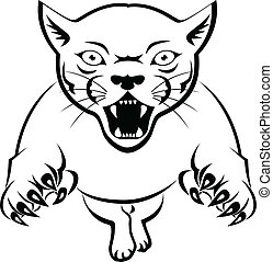 Panther Acttacking - Vector Illustration Of Panther...