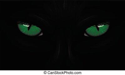panther, augenpaar, schwarz, dunkles grün