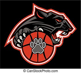 panther basketball team design with ball and mascot for...