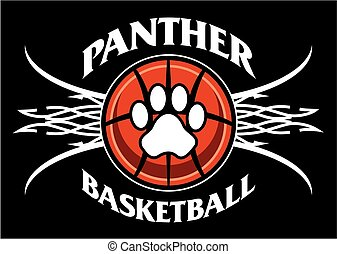 panther basketball team design with tribal net for school,...