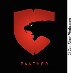 Panther. black panther. Panther head and shield