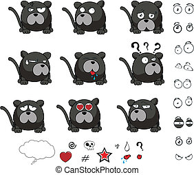 panther cartoon ball vector set in vector format