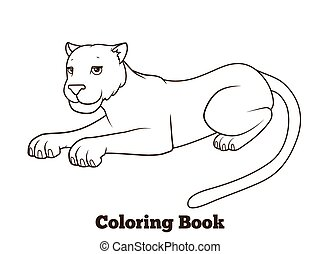 Panther cartoon coloring book vector illustration