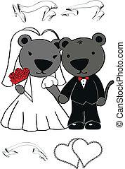 panther cartoon wedding set