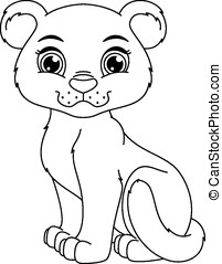 Panther coloring page - Cute panther cub cartoon coloring...