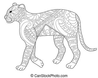 Panther coloring vector for adults - Panther coloring book...