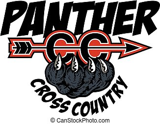 panther cross country team design with mascot claw for ...