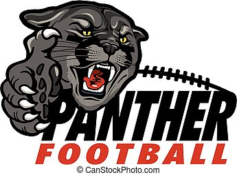 panther football team design with black panther mascot and...