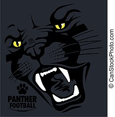 panther football team design with panther face for school,...