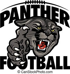 panther football team design with black panther mascot head and large claw