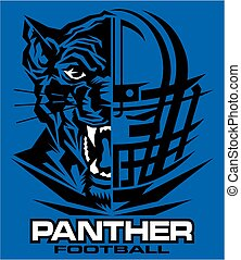 panther football team design with half mascot and facemask...