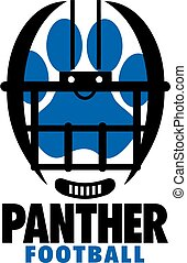 panther football team design with helmet and paw print