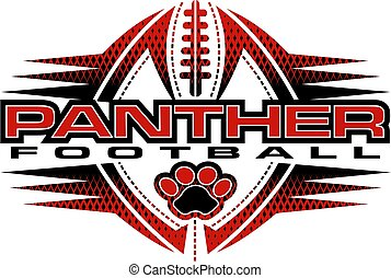 panther football team design with paw print and ball for school, college or league