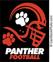 panther football team design with paw print inside helmet...