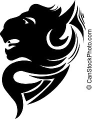 Panther head tattoo design, vintage engraving.