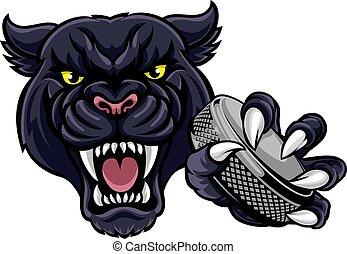 Panther Ice Hockey Player Animal Sports Mascot